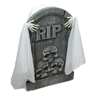 "20.75"" Lighted Rising Ghost Behind a Tombstone Animated Halloween Decoration with Sound"
