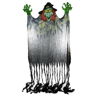 11' Spine-Chilling Witch with Green Hands Hanging Halloween Decoration