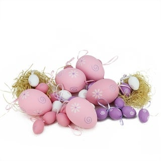 """Set of 29 Pastel Pink White and Purple Painted Floral Spring Easter Egg Ornaments 3.25"""""""