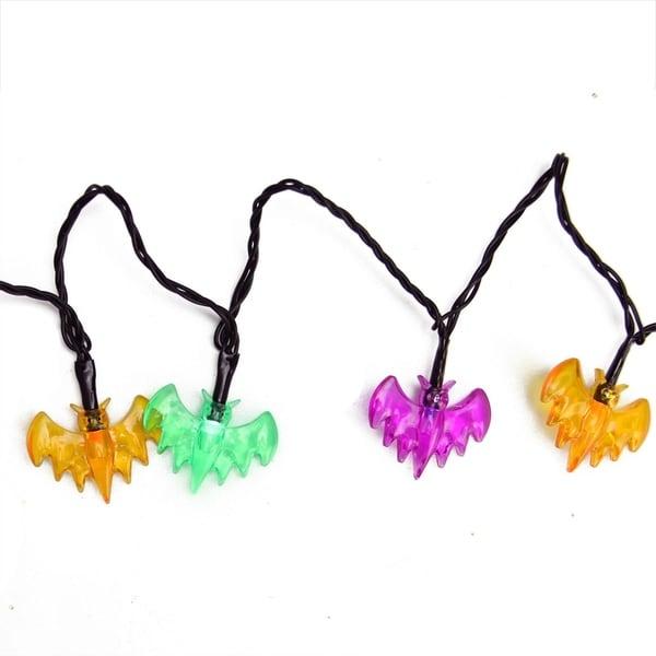 Set of 10 B/O Multi-Color Bat LED Novelty Halloween Lights - Black Wire