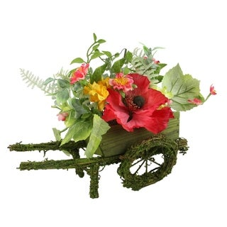 "12"" Decorative Red Poppy and Orange Wildflower Artificial Floral Wheelbarrow Table Top Decoration"