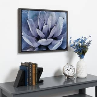 Kate and Laurel Sylvie Violet Cactus Framed Canvas by Amy Peterson - 24x18