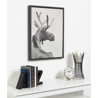 Kate and Laurel Sylvie Moose Photo Framed Canvas by F2 Images - 18x24