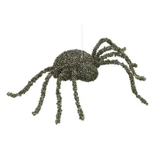 """8"""" Creepy Olive Green and Purple Beaded Spider Halloween Ornament"""