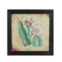 "12""  Black and Green Decorative Cactus and other Desert Plants Surrounded by Black Photo Frame"