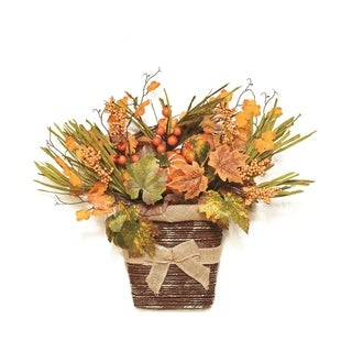 "18"" Autumn Harvest Artificial Pumpkins  Berries  Leaves and Grass Wall Mounted Basket Decoration"
