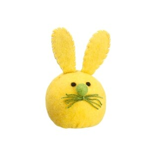 "6.75"" Vibrant Yellow Plush Felt Easter Bunny Rabbit Head Spring Decoration"