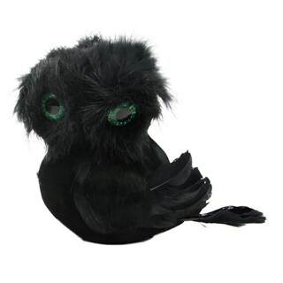 """5.75"""" Spooktacular Black Faux Fur and Feathered Owl Halloween Decoration"""