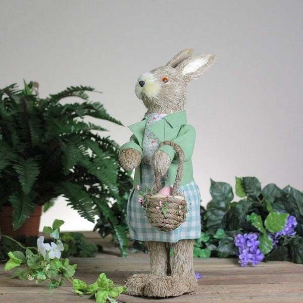 EASTER BUNNY RABBIT WITH GREEN METAL EGG PINK FLOWERS WALL DECORATION SPRING