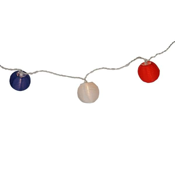Set Of 10 Red White And Blue Round Chinese Lantern Patio Lights Wire