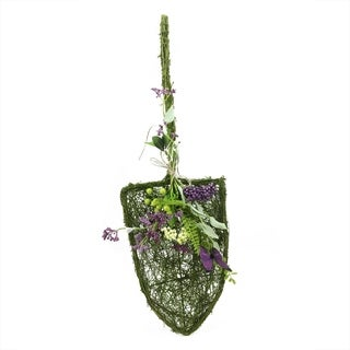 """29"""" Decorative Purple and Green Mixed Berry and Butterfly Artificial Floral Shovel Accent"""
