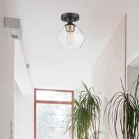 Harrow 1-Light Matte Black Semi-Flush Mount Ceiling Light