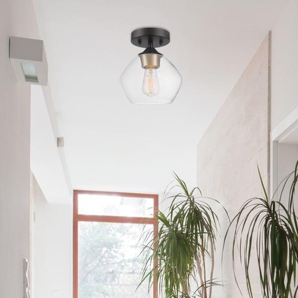 Porch & Den Berea Matte Black 1-light Semi-Flush Mount Ceiling Light