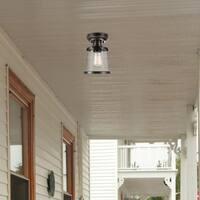Charlie 1-Light Oil Rubbed Bronze Outdoor/Indoor Semi-Flush Mount