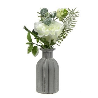 """10.5"""" Frosted White Rose Snow Berries and Pine Tree Needle Artificial Winter Floral Arrangement"""