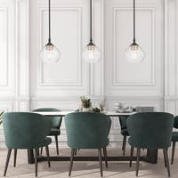 Harrow 1-Light Matte Black Pendant with Clear Glass Shade