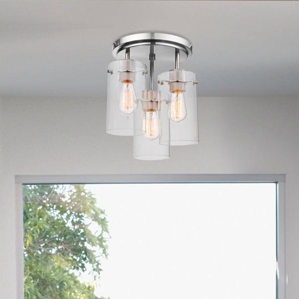 Porch & Den Winema Brushed Steel 3-light Semi-Flush Mount Ceiling Light. Opens flyout.