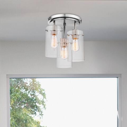 Porch & Den Winema Brushed Steel 3-light Semi-Flush Mount Ceiling Light