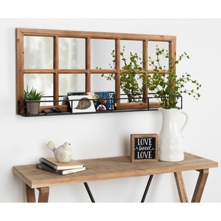 Kate and Laurel Jackson 10 Windowpane Wall Mirror with Shelf - 18x40