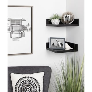 Kate and Laurel Levie Floating Corner Wood Wall Shelf - 2 Piece