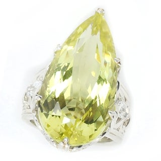 Michael Valitutti Palladium Silver Pear Shaped Ouro Verde & White Topaz Ring