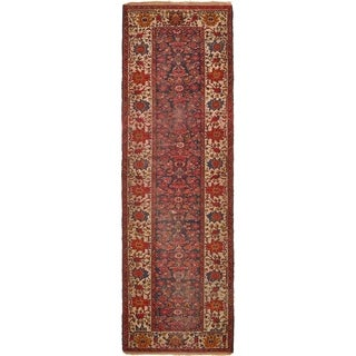 Hand Knotted Malayer Antique Wool Runner Rug - 4' x 12' 3