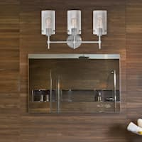 Cusco 3-Light Brushed Steel Vanity with Clear Glass Shades