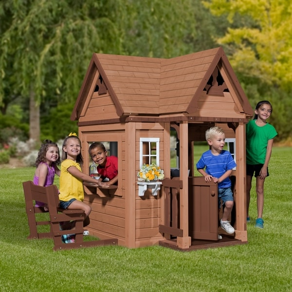 20 Ways To Spiff Up Your Backyard For Spring: Shop Backyard Discovery Pembrook Outdoor Wooden Playhouse