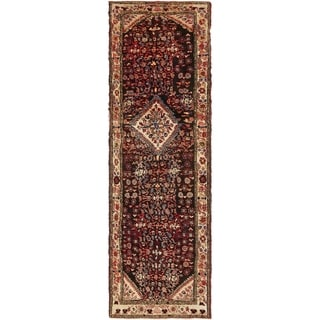 Hand Knotted Malayer Semi Antique Wool Runner Rug - 3' 7 x 12'