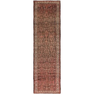 Hand Knotted Malayer Semi Antique Wool Runner Rug - 3' 7 x 12' 3