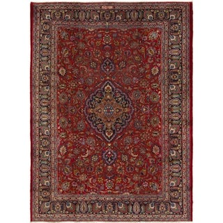 Hand Knotted Mashad Semi Antique Wool Area Rug - 8' X 11'