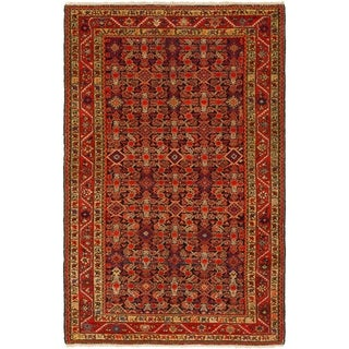 Hand Knotted Malayer Antique Wool Area Rug - 4' 2 x 6' 6