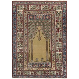 Hand Knotted Lahour Antique Wool Area Rug - 4' 2 x 6'