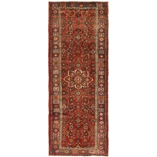 Hand Knotted Malayer Semi Antique Wool Runner Rug - 3' 8 x 9' 10