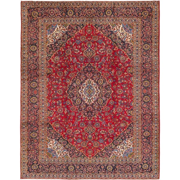 Shop Hand Knotted Mashad Semi Antique Wool Area Rug 10 X 12 9