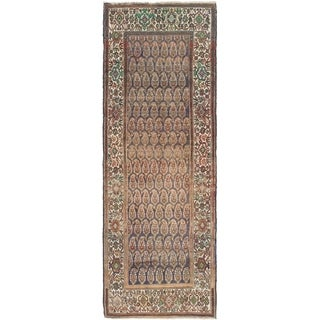 Hand Knotted Malayer Antique Wool Runner Rug - 3' 6 x 10'