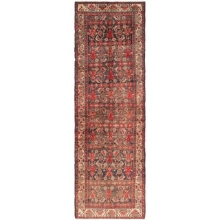 Hand Knotted Malayer Antique Wool Runner Rug - 3' 7 x 11' 8