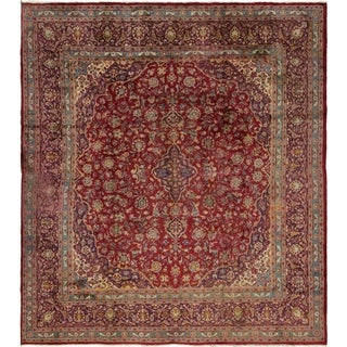 Hand Knotted Mashad Antique Wool Square Rug - 9' 8 x 10' 5