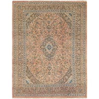 Hand Knotted Mashad Semi Antique Wool Area Rug - 9' 7 x 12' 9