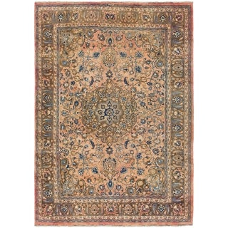 Hand Knotted Mashad Semi Antique Wool Area Rug - 8' 2 x 11' 7