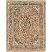 Hand Knotted Mashad Semi Antique Wool Area Rug - 7' 4 x 9' 4
