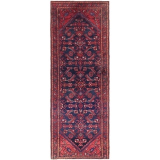 Hand Knotted Malayer Semi Antique Wool Runner Rug - 3' 7 x 10' 4
