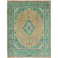 Hand Knotted Mashad Semi Antique Wool Area Rug - 9' 8 x 12' 6