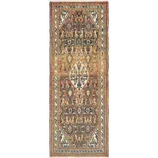 Hand Knotted Liliyan Antique Wool Runner Rug - 3' 8 x 10' 2