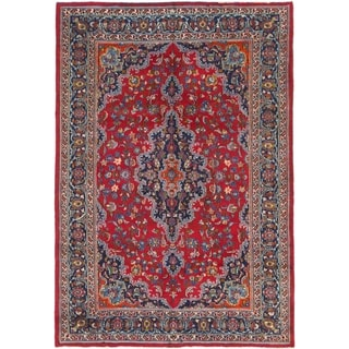 Hand Knotted Mashad Semi Antique Wool Area Rug - 6' 6 x 9' 5