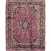 Hand Knotted Mashad Semi Antique Wool Area Rug - 9' 9 x 12' 5
