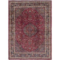 Hand Knotted Mashad Semi Antique Wool Area Rug - 9' 6 x 12' 7