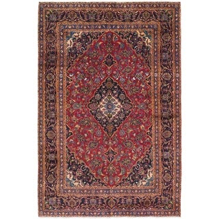 Hand Knotted Mashad Semi Antique Wool Area Rug - 6' 5 x 9' 6
