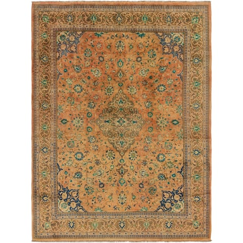 Hand Knotted Mashad Semi Antique Wool Area Rug - 9' 3 x 12' 8