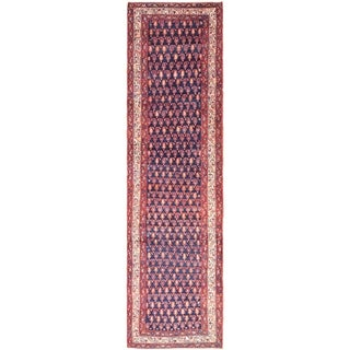 Hand Knotted Malayer Wool Runner Rug - 3' 7 x 14'